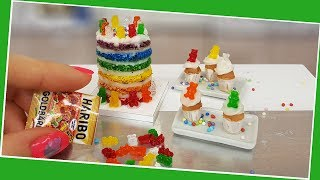 HARIBO gummy bear cake and cupcakes/real but mini gummy bears/Jenny's mini cooking/so yummy/diy