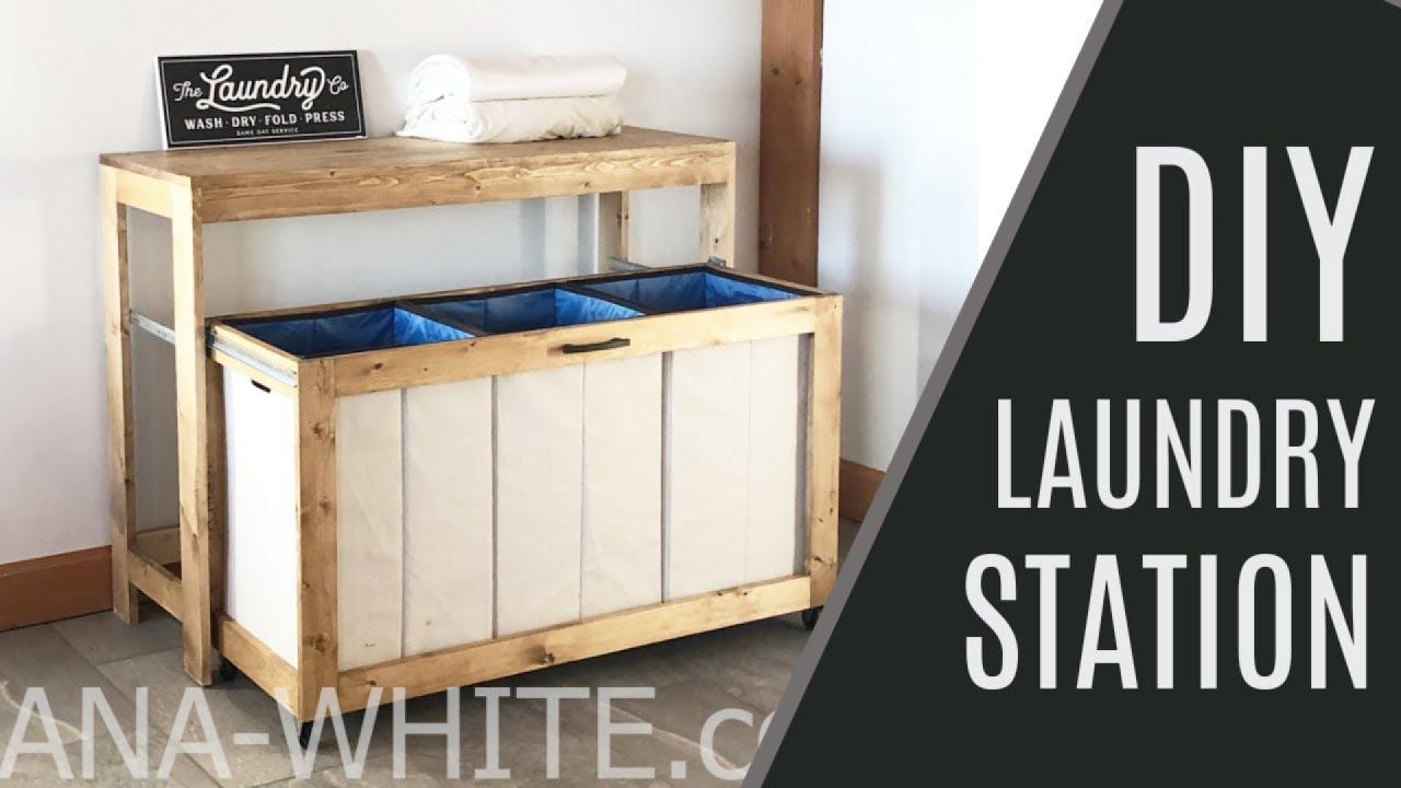 Diy Space Saving Laundry Station Youtube