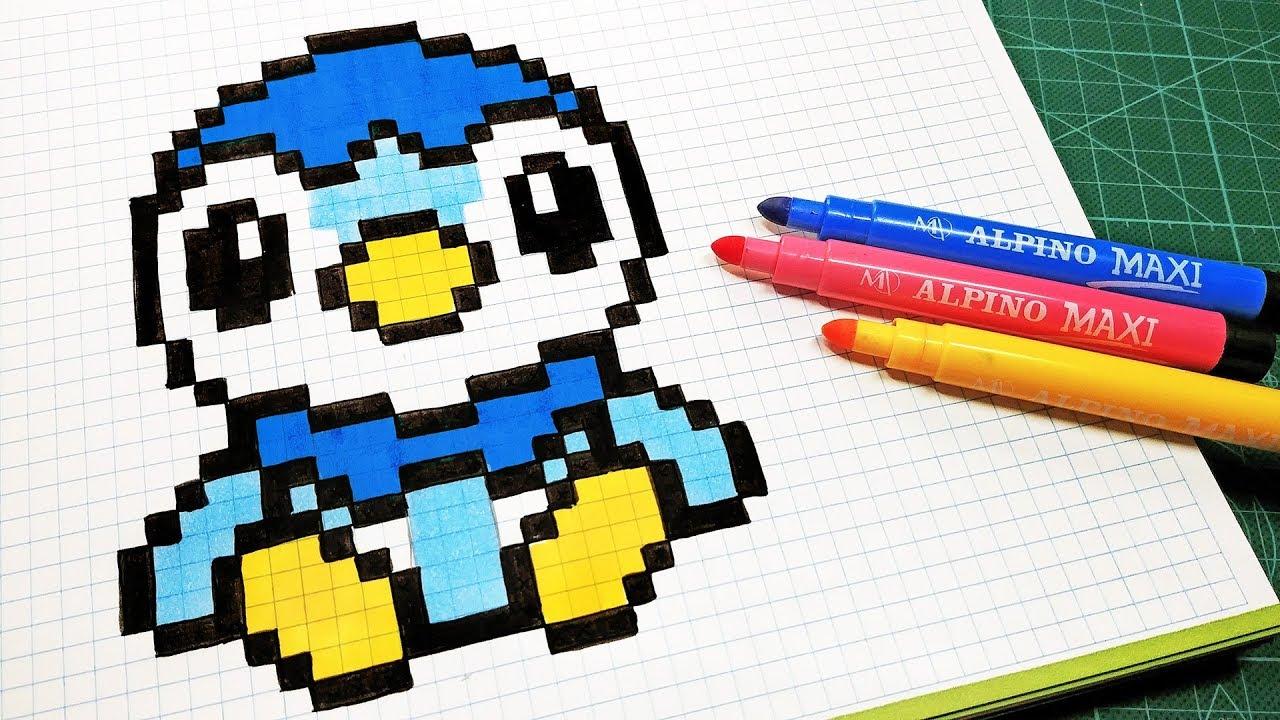 pixel pokemon piplup dibujos dibujar pixelart pixeles arte pixelados kawaii con cuadricula draw dibujo minecraft kw garbi hello handmade como