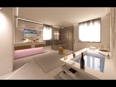 Badezimmer mit Wandtapete und TV im Spiegel Design by Torsten Mueller aus Bad Honnef Koeln Bonn