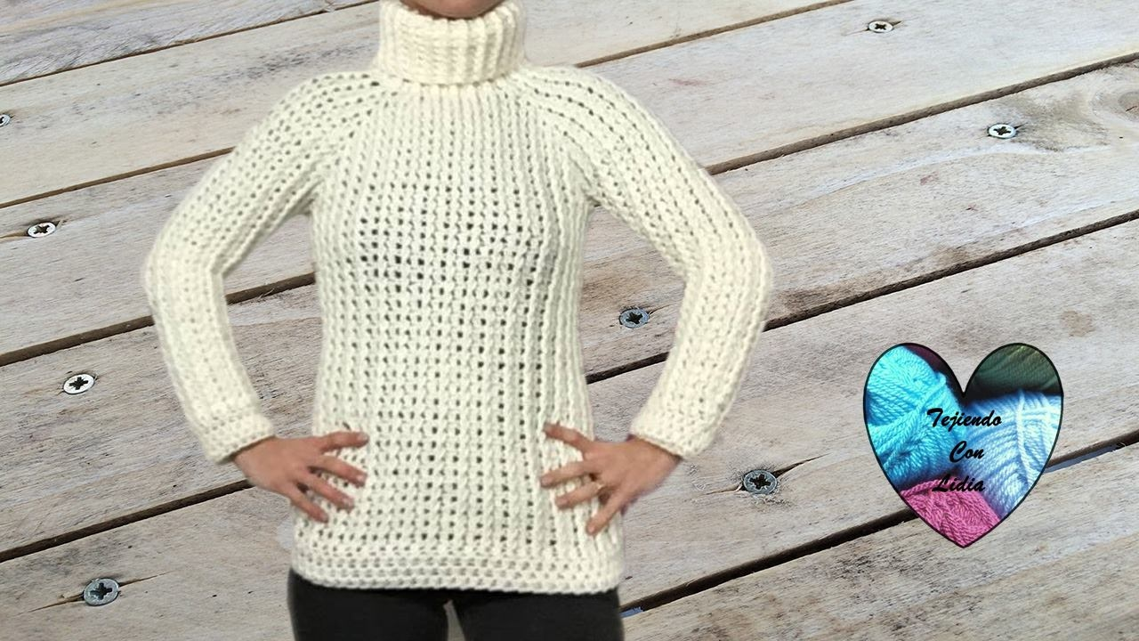 Jersey crochet todas las tallas muy fácil de tejer - YouTube