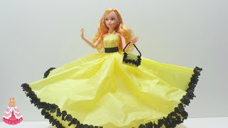 Video How to Make a Cinderella Yellow Doll Dress from Tissue and Crepe Paper - Doll Dress Fun download MP3, 3GP, MP4, WEBM, AVI, FLV September 2018