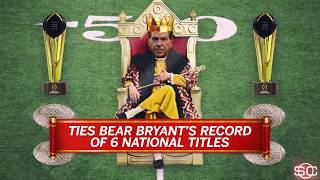 Nick Saban reaches royal status with sixth national championship | SportsCenter | ESPN