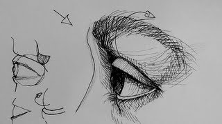 Pen and Ink Drawing Tutorials | How to draw an eye in side view