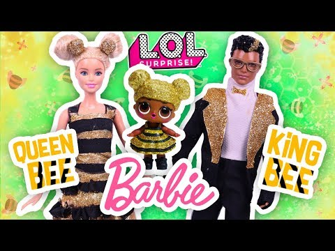 💖 BARBIE & KEN transformed into QUEEN BEE and KING BEE 🐝  LOL Surprise Dolls- Toy Transformations