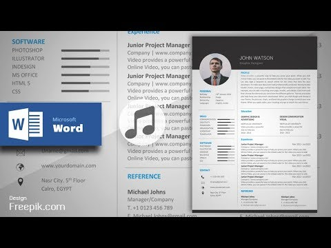 Black Formal Resume/CV in MS Word (Musical Version) | CV Design Tutorial