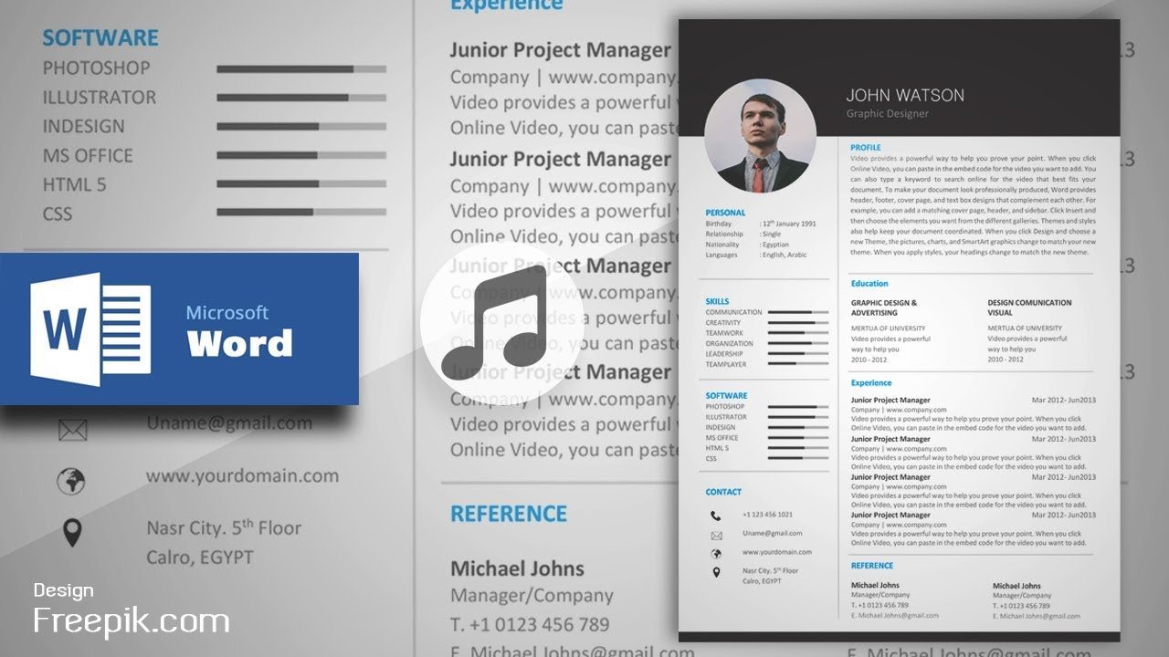 black formal resume  cv in ms word  musical version