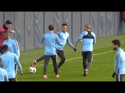 Manchester City Train Ahead Of Champions League Clash With Napoli