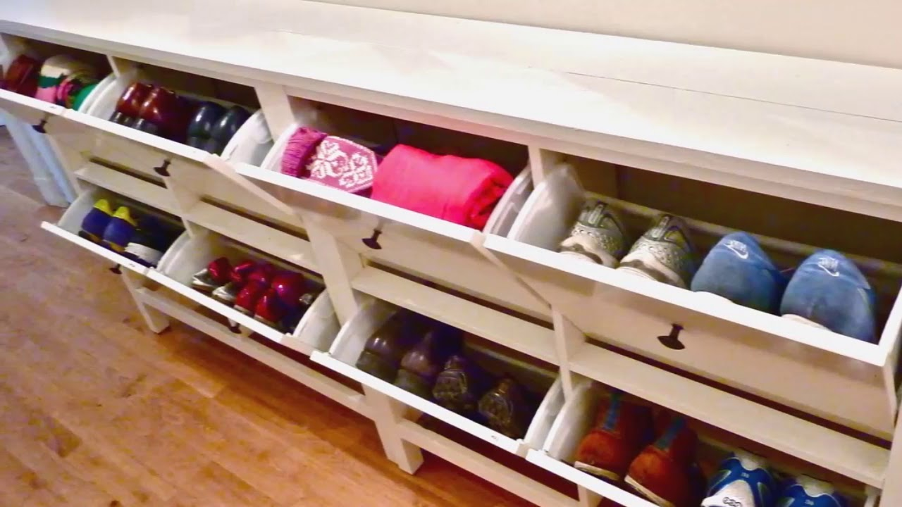 Modern Storage Bench Shoe With Coat Rack Seat Ikea