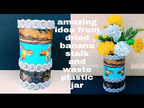 DIY/Flower vase out of plastic jar/Best out of waste idea/ Make Easy Vase at Home for Home Decor