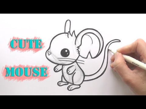 how to draw a cute mouse