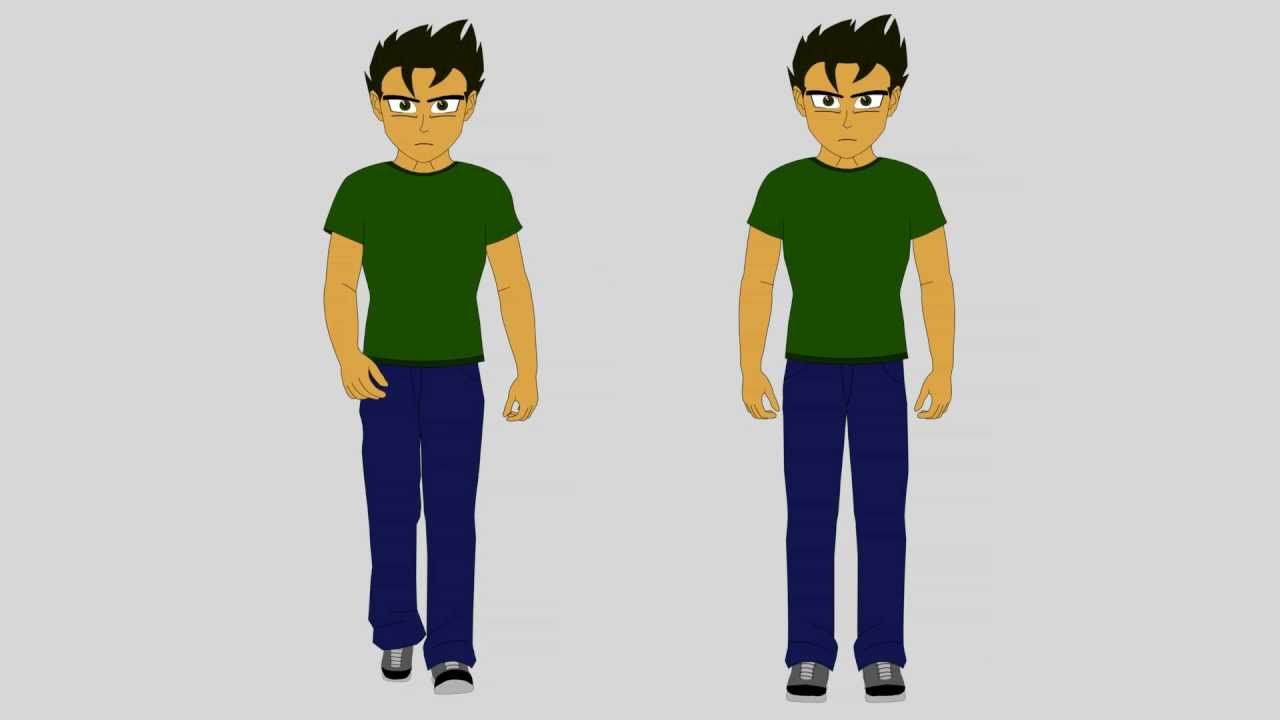 Cartoon Characters Facing Forward : Male character front view stand walk cycle youtube