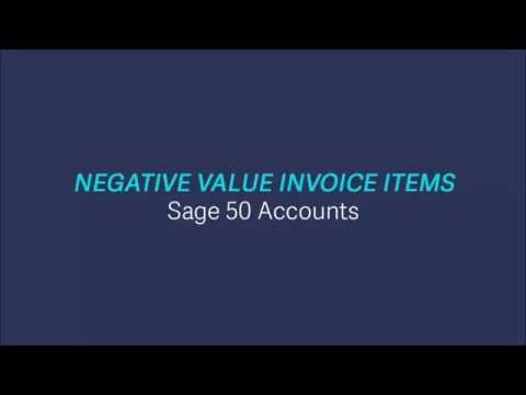 NEW Sage 50 Accounts v2017 -  Negative Value Invoice Items