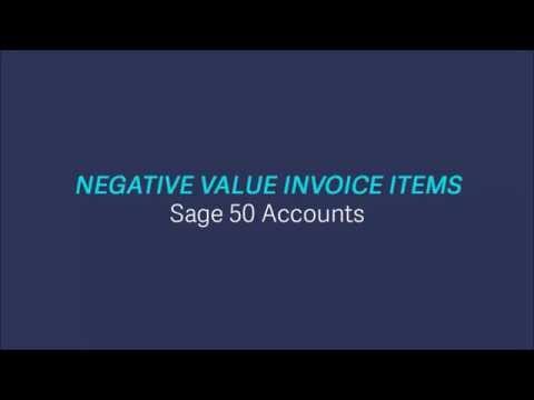 NEW Sage 50 Accounts v2017 -  Negative Value Invoice Items