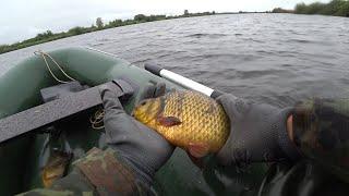 Рыбалка на сети. Караси знатные попали. Проверка сетей в непогоду.
