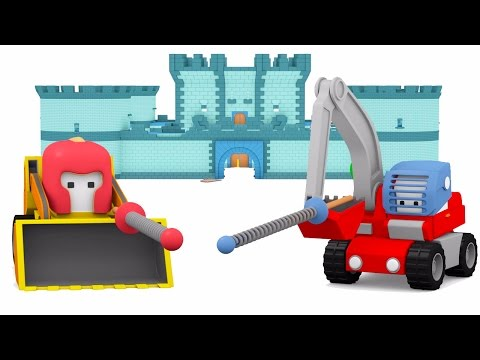 Catapult & Castle - Learn with Tiny Trucks: Bulldozer, Crane Truck and Excavator cartoon for kids