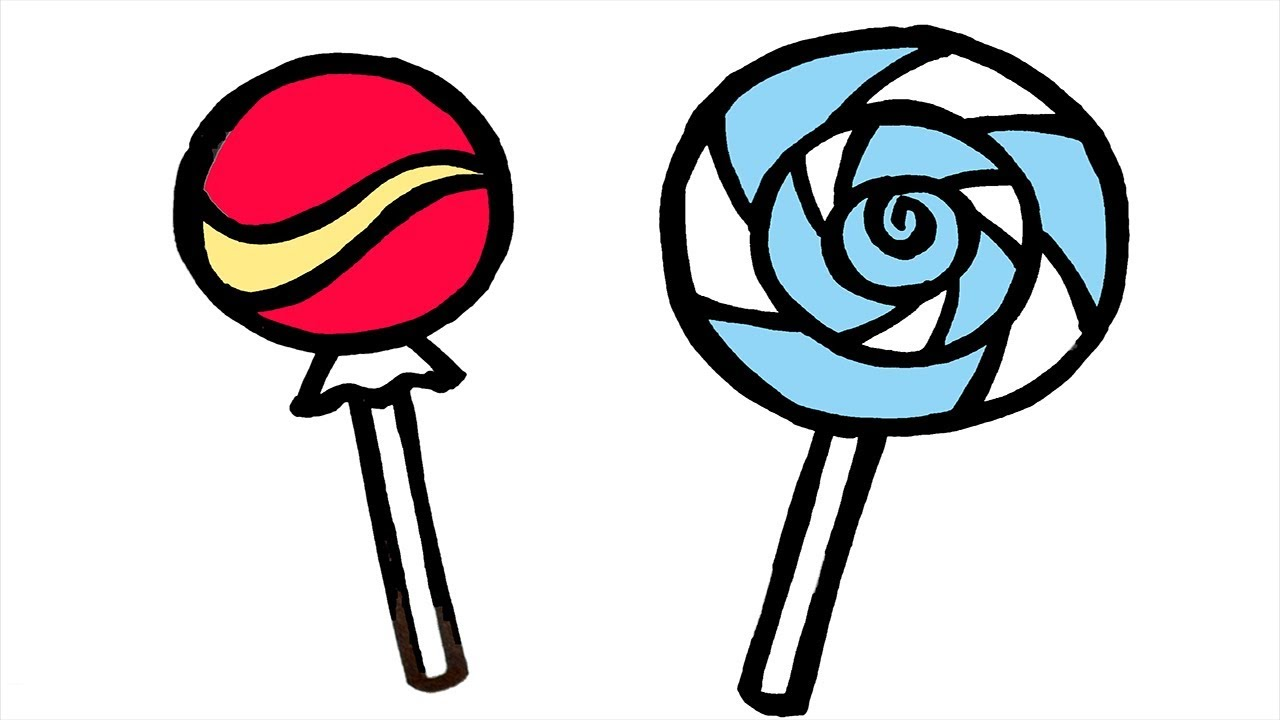 glitter lollipop drawing coloring watercolor  for kids