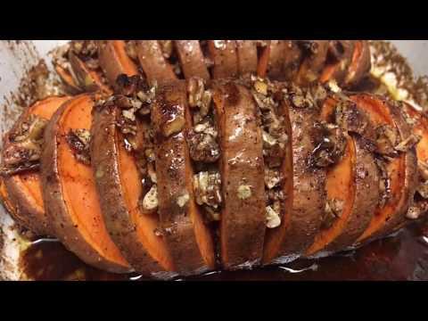Hasselback Maple Pecan Sweet Potatoes