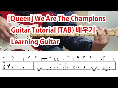 [Queen]위 아더 챔피온 We Are The Champions Guitar Tutorial (TAB)