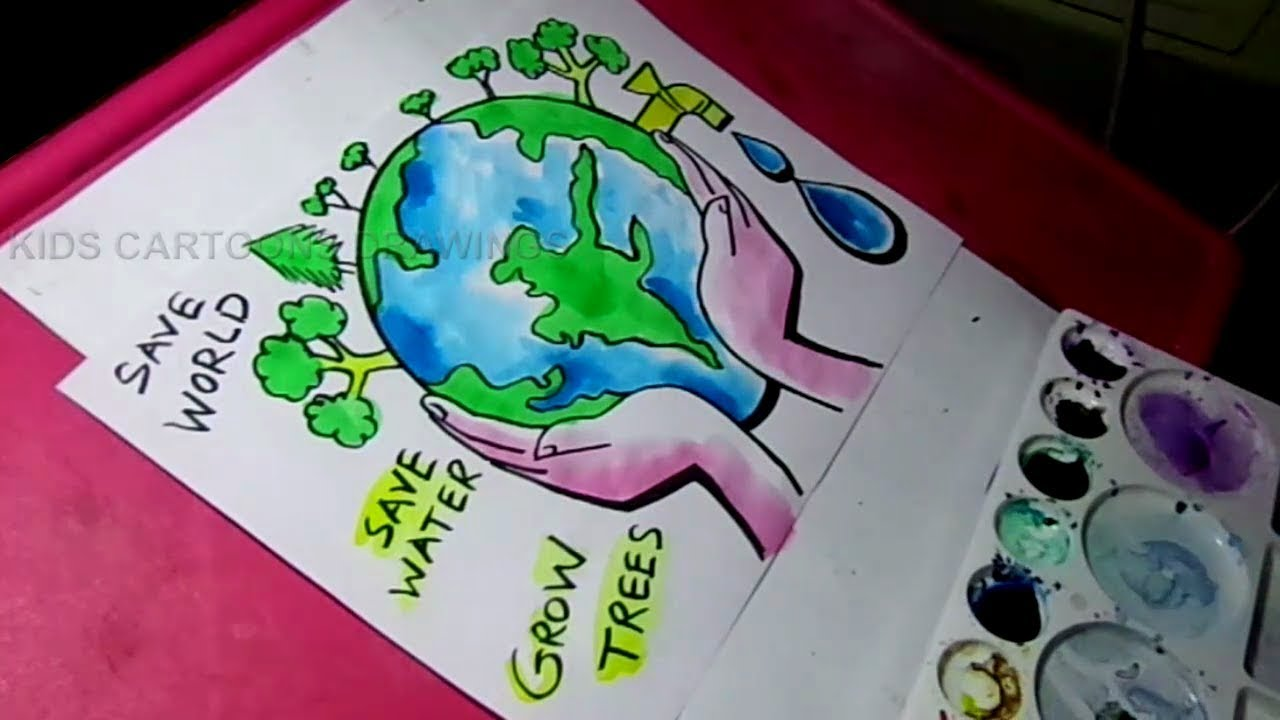 how to draw save water save trees save nature color drawing for kids [ 1280 x 720 Pixel ]