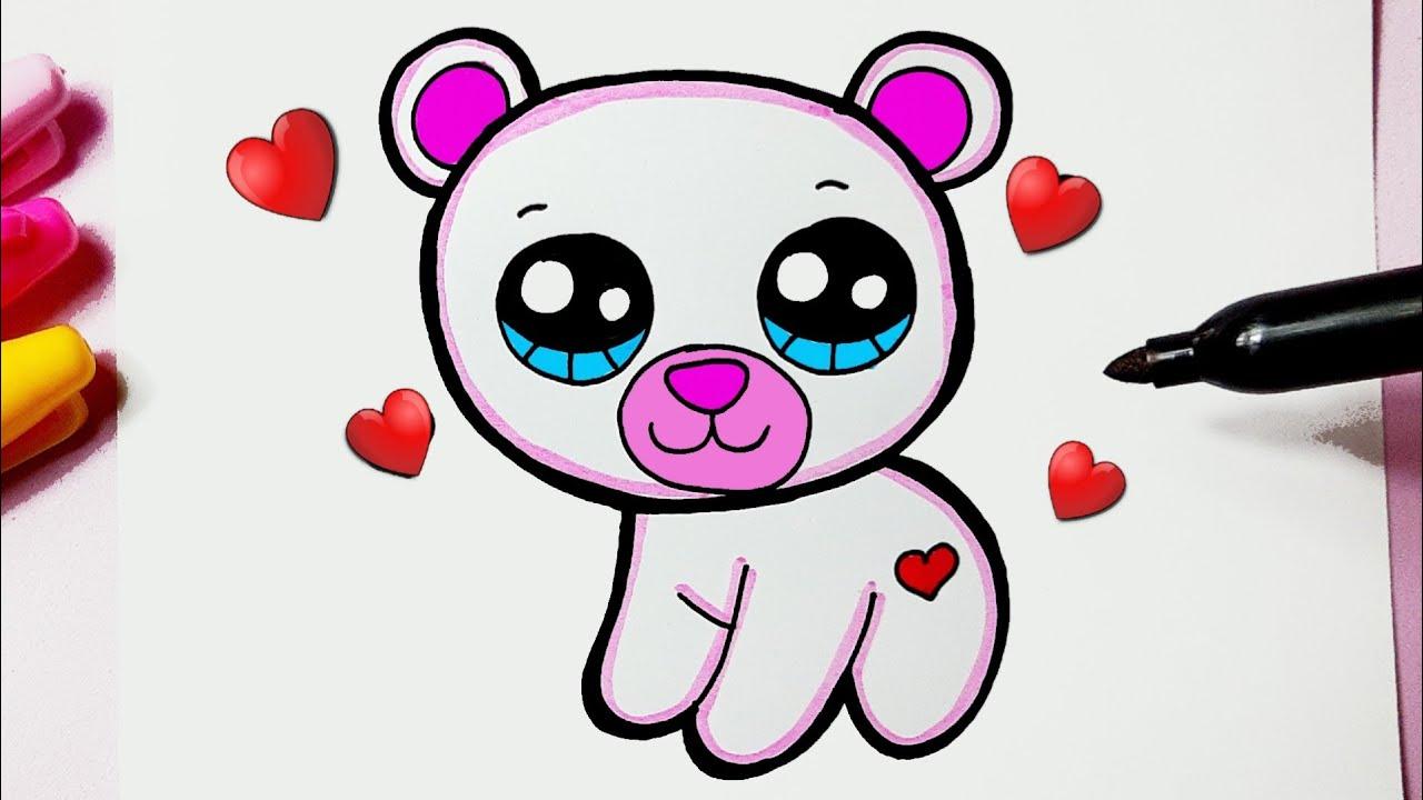 Como desenhar um Urso Polar fofo Kawaii ❤ Desenhos Kawaii - Desenhos para Desenhar