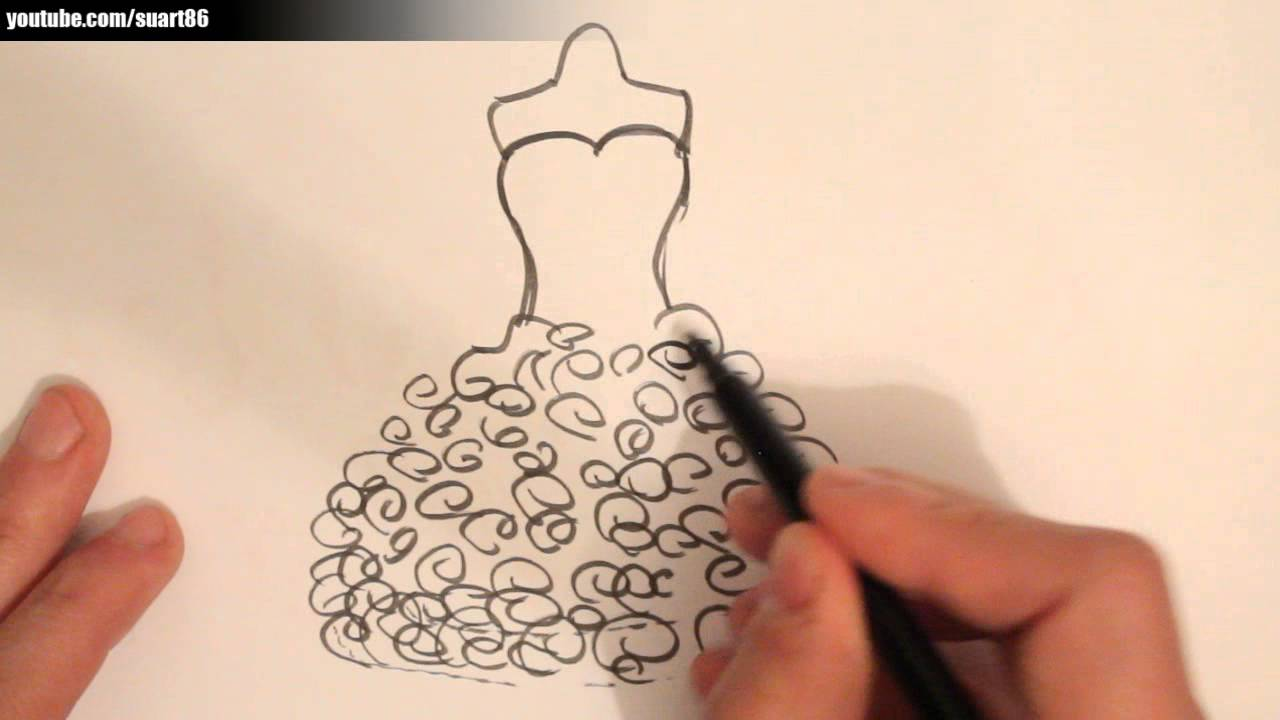 How to draw a wedding dress - YouTube