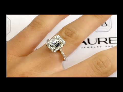 2 00 Carat Emerald Cut Diamond Ring In Cathedral Halo