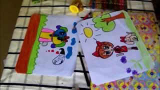 Vẽ tranh tô màu con chó Drawing Coloring - Hoa ly TV