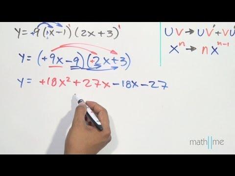 Derivar la función 9(x-1)(2x+3) - YouTube