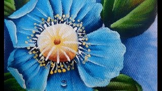 Como pintar Papoula Azul em tecido