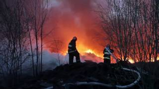 Пожар на территории промышленного объекта в Могилеве