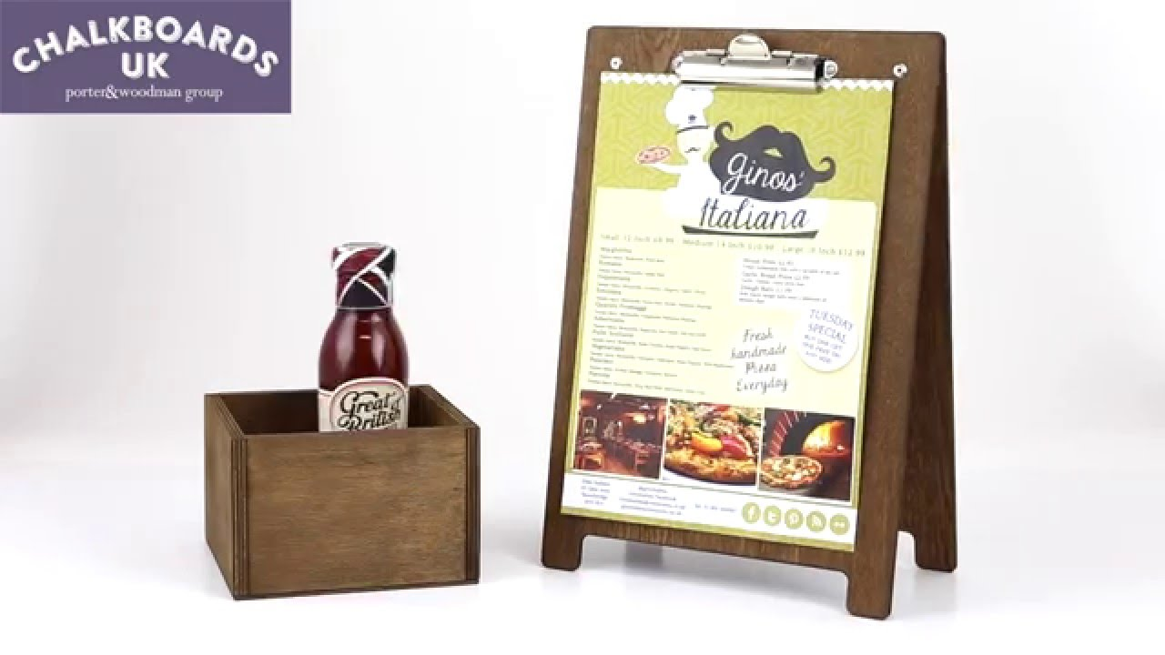 Menu Holder A-Frame Clipboard -ChalkboardsUK - YouTube