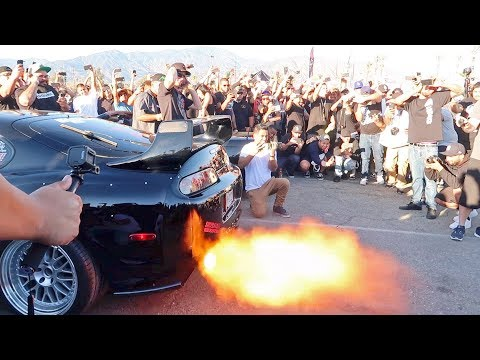 INSANELY LOUD Toyota Supra vs Nissan GTR R34 Ultimate Rev Battle | RaceWars 2017