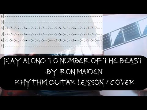 Number Of The Beast by Iron Maiden Lesson Play Along with Rolling Tab / Rhythm Cover