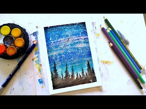 Galaxy using watercolor pencils tutorial for beginners thumbnail