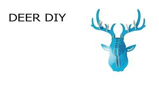 DIY голова из фанеры оленя обзор как собрать декор на стену ― голубой олень