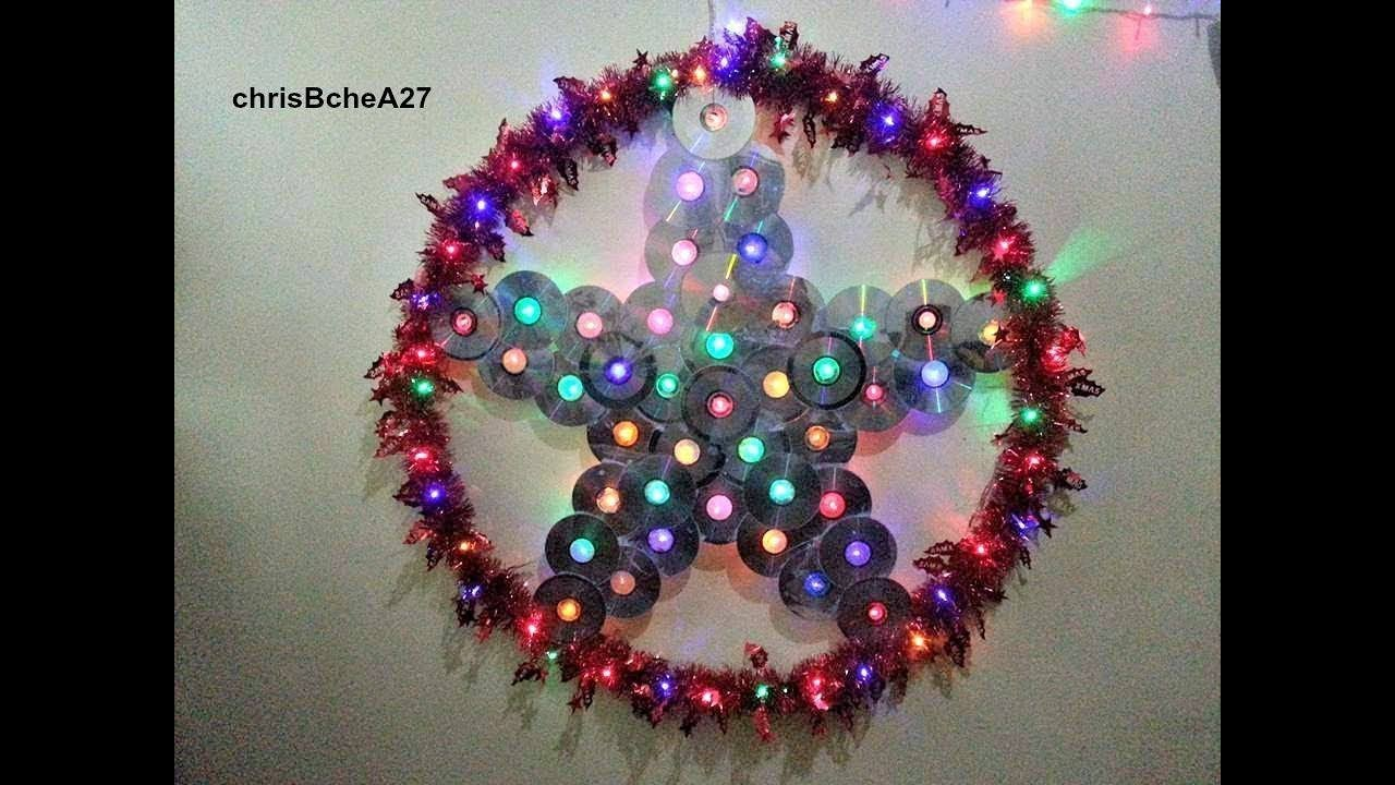 How to make a christmas decoration using recycled materials - Diy 49 36 Inches Xmas Lantern Parol From Recycled Cd And Dvd
