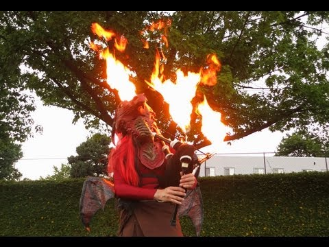Game of Thrones Theme on Flaming Bagpipes and Unicycle - The Unipiper