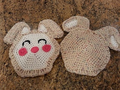 Crochet Easy Easter Bunny Hot Pad Potholder Diy Tutorial Youtube