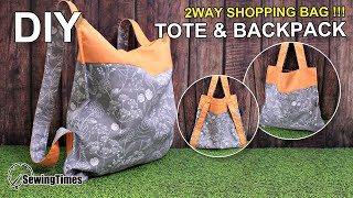 DIY EASY 2WAY SHOPPING BAG 가방만들기 | How to make a tote & backpack | Reusable Market Bag [sewingtimes]