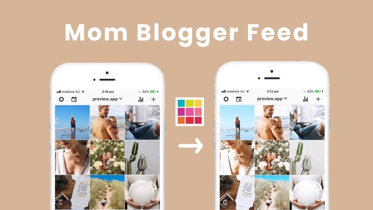 MOM BLOGGER Instagram Feed idea + Preset / Filter ❤️ using Preview App