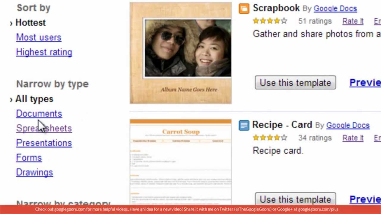 google doc recipe template
