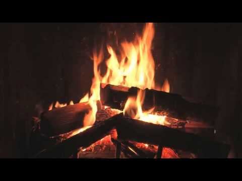 Traditional yule log fireplace with crackling fire sounds - Put out fire in fireplace ...