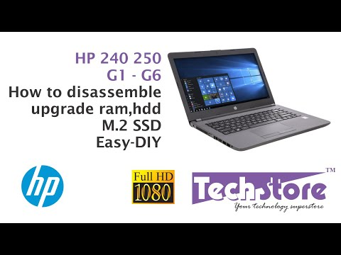 How to disassemble HP 240 250 G6 & upgrade ram hdd m.2 ssd easy diy