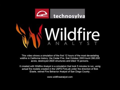 Cedar Fire: first 12 hours simulation using Wildfire Analyst