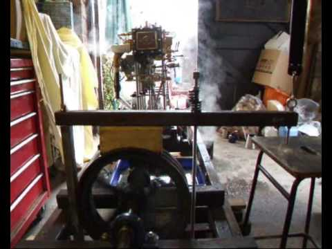 Triple Expansion Steam Engine running with a brake.