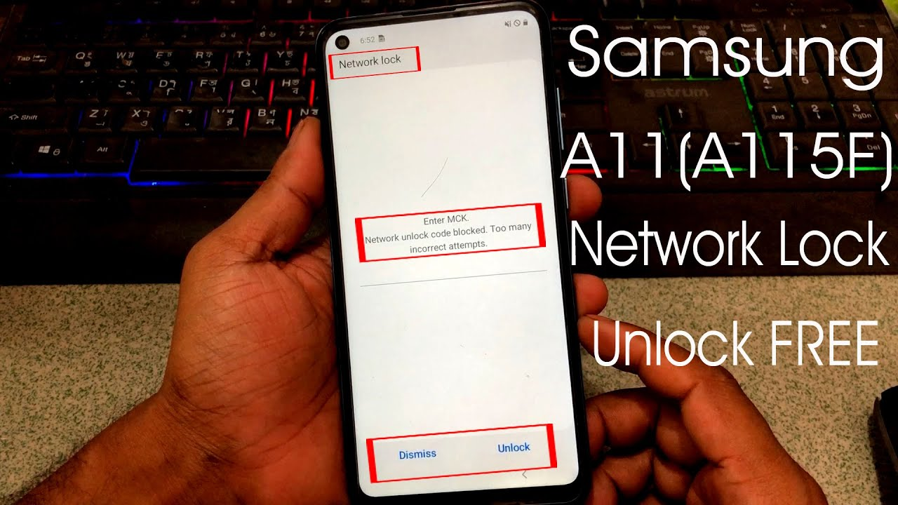 Samsung A11(A115F) Country Lock Unlock 100% FREE || Network Unlock Code Block many wrong attempts