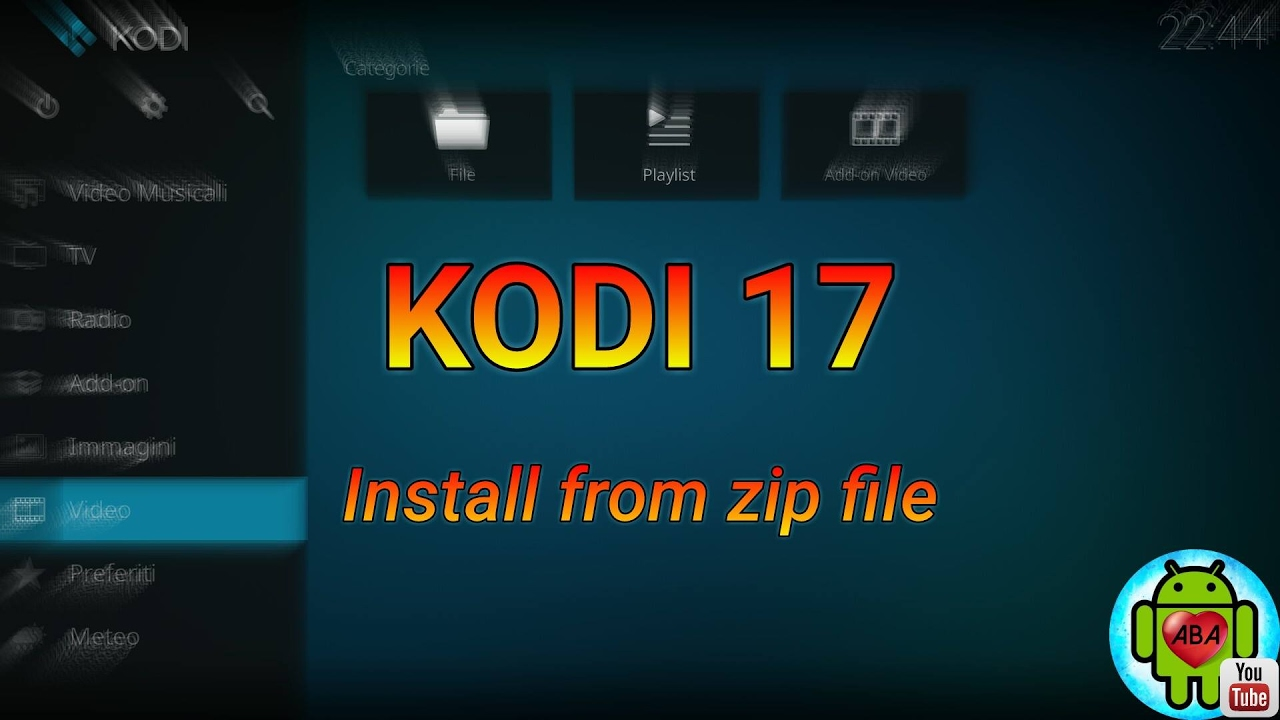 KODI 17: Install from zip file (Android)