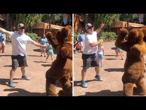 James Burlander - Dance Off Between A Man and Bear at Orlando's Disney's Animal Kingdom