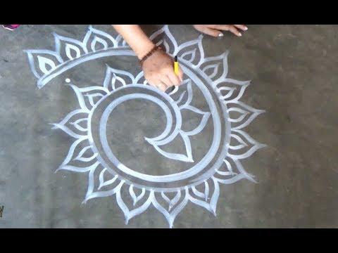 Simple Beautiful Rangoli designs by Art Gallery| Easy Kolam designs